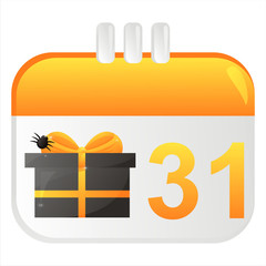 halloween calendar icon with present