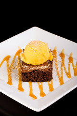 Chocolate Brownie with Mango Sorbet for Dessert