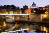 Saint Peter's Basilica Rome Italy on Tiber bank in evening