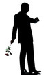 silhouette man full length one caucasian  holding a rose flower