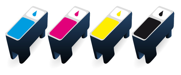CMYK ink cartridges in perspective