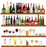 Set of different drinks and bottles on the wall. Vector - 35811097
