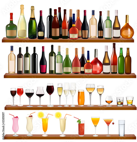 Set of different drinks and bottles on the wall. Vector