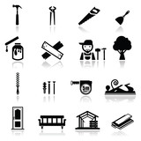 Icons set carpentry poster