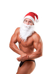 bodybuilder santa claus posing over white