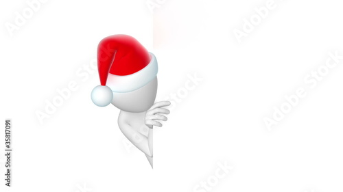 santa, thumbs up. 3d animation with alpha-matte