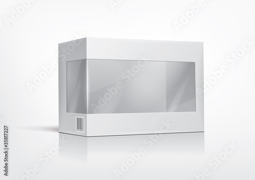 Cardboard box with a transparent plastic window for new design.