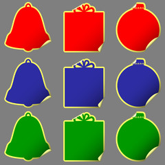 stickers with shape of bell, gift, ball
