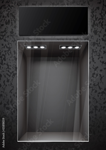 Vertical black storefront with signboard. vector