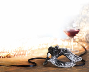 carnival mask with wine
