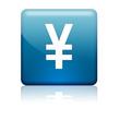 Boton cuadrado azul simbolo yen