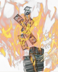 Financial crisis.  Burning american money