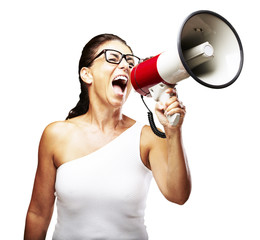 woman shouting using megaphone