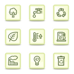 Ecology web icons set 1, salad green buttons