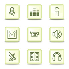 Media web icons, salad green buttons