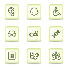 Medicine web icons set 2, salad green buttons