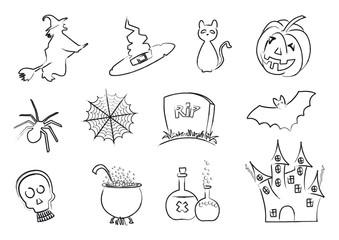 icone di Halloween disegnate a pennello in nero