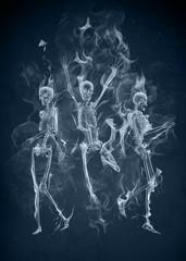 Dancing smoke skeletons