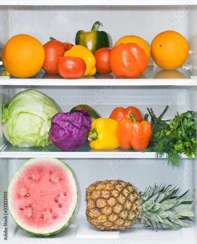 refrigerator full of healthy eating