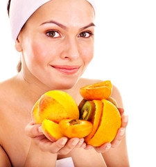 Natural homemade fruit  facial masks .