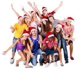 Group people in santa hat.