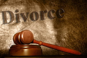 legal gavel and divorce text background