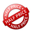 """""""HALF PRICE"""" Marketing Stamp (special offer tag 50 percent off)"""