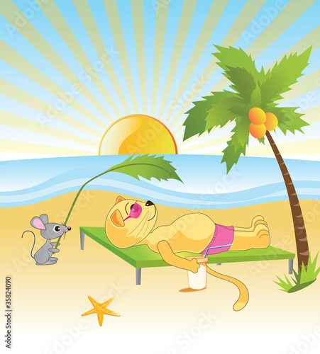 Poster Katten cat with a mouse rest on the beach by the sea