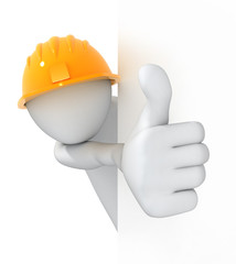 Worker, thumbs up! 3d image with a clipping path