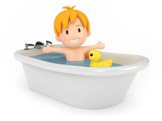 3D render of a kid taking a bath
