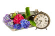 Romantic suitcase with clock