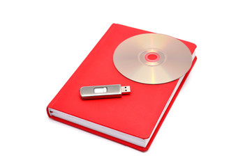 diary, flash drive and cd