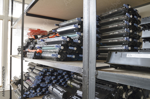Laser cartridges on the shelves
