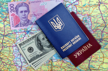 passports, money and map