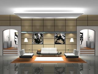 Lobby mit Sofas Rendering