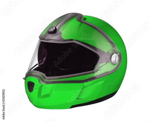 green shiny motorcycle helmet Isolated on white background