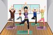 Yoga students at yoga studio