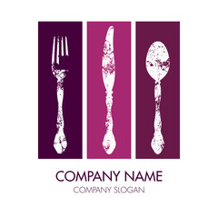 Fork, Knife & Spoon Company Logo Purple