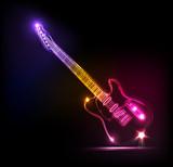 Fototapety Vector neon guitar, grunge music