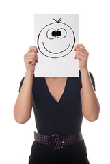 woman with happy smile on the paper