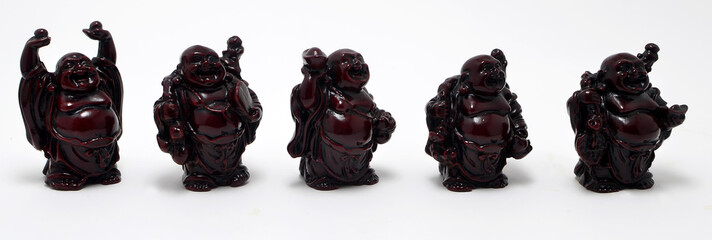 five Chinese Buddha on white background