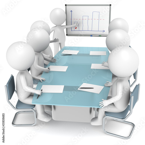3D little humans during a Presentation. Business People series.