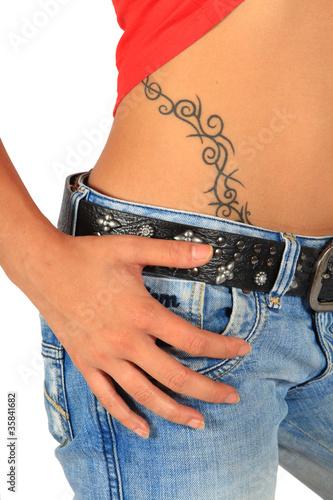 hanche tatouage photo libre de droits sur la banque d 39 images image 35841682. Black Bedroom Furniture Sets. Home Design Ideas