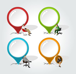 Colorful pointers with business people on chair