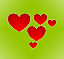 Red hearts - green background