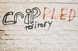 Misspelled gang graffiti in a bad neighborhood