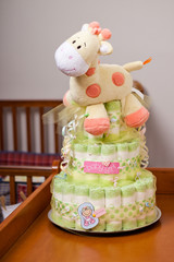 Green diaper cake for girl