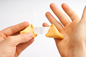 Hand gesture reaction as blank fortune is discovered