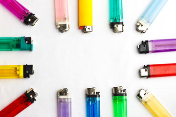 Colorful border of disposable lighters