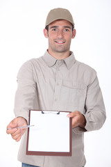 Courier with a pen and clipboard